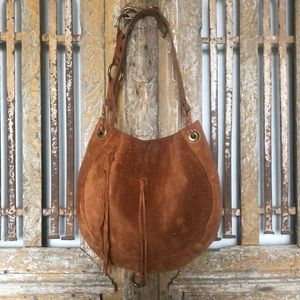 LUCKY BRAND Suede Vintage Inspired Hobo Bag